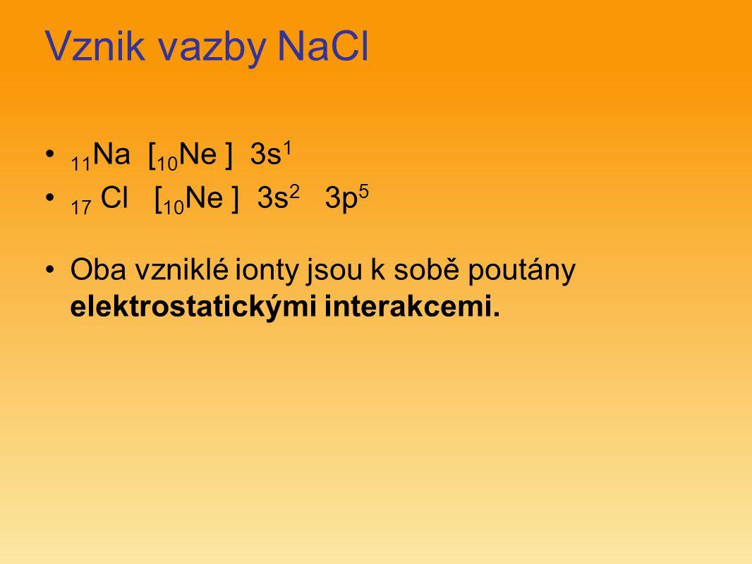 Vznik vazby NaCl 11Na [10Ne ] 3s1 17 Cl [10Ne ] 3s2 3p5